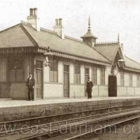 Seaham Station, (behind Station Hotel) newly rebuilt in 1887 using prefabricated panels made at Londonderry Engine Works