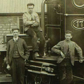 Detail from previous photograph. I originally dated this photograph as 1873, the year Loco 17 was built as it appears to be new in every respect but I am reminded by Ian Thirlwell that the young man at the left of this crop was born in 1878 which would place the photograph in the late 1890s.  Mary Jane Kennedy, landlady of the Bridge at the time of the photograph first appears there in the 1881 census and leaves sometime between 1902 and 1910.