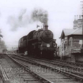 Southbound at Seaham Hall Station in the 1950's. To the right is the old Station house built in 1873 for the private use of the Londonderry family. Still standing this building is now a private dwelling house.