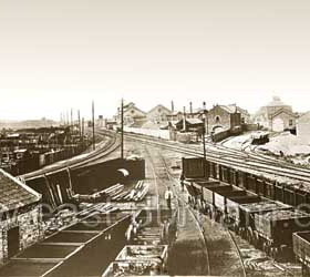Looking north from the Wagonworks to the Engineworks, Station, Station Hotel and Marlborough St in 1870. Engineworks built 1866-68, the main building was 135' by 35'