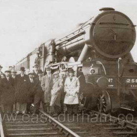 Liverpool to Newcastle excursion train derailed by collision with horse at Seaham Colliery Station. Photograph May 1930.                                 The locomotive, was a LNER 4-6-2 A3 Gresley Pacific called 'Sir Hugo' (No. 2582) it was built Dec. 1924.  Rebuilt in Dec. 1941 its record shows that it ended its LNER career with the No. 83 in 1946, following nationalisation (1948) it's British Railways No. was 60083 and it was disposed of in May 1964 I assume this means it was scrapped as I can't find any record of it after that date.  The only existing A3 Pacific left is No. 4472 Flying Scotsman. These locos ran on the East Coast Line until 1961 when they were replaced by Diesels. Info from David Farrer