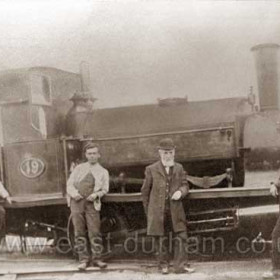 Loco 19 at Seaham, photographed in 1903? with George Reed (foreman) and crew.  Built at Black Hawthorn of Gateshead in 1871 owned by Rainton Colliery, Londonderry Railway then Dock Co. Came to Seaham in 1903.
