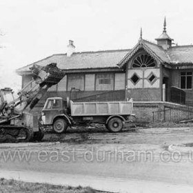 Seaham Station closed during WW2 and was demolished in August 1971. Not sure whether picture shows demolition of Station, Witten Park or both.