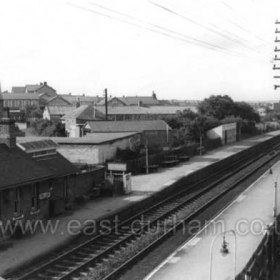 Seaham Colliery Railway Station in Sept 66. Seaham Modern School left of centre in distance.