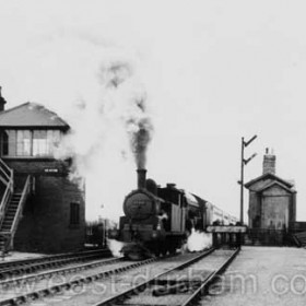 Looking east to Seaton Station and signal box. The station closed in 1951.