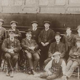 Railway staff at Seaham, no other information.