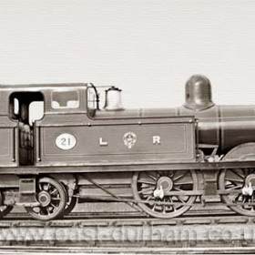 Loco 21 was built at Seaham Harbour Engine Works in 1895 and taken over by the NER along with the Londonderry, Seaham to Sunderland line in 1900. Londonderry engines were dark green with orange coachlines. Rolling stock for passengers, lake red with gold coachlines. This was the last Seaham passenger engine. Photograph 1895.