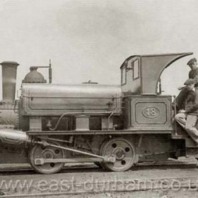 Loco 18 at Dock in 1930, Adam Renwick standing.