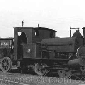 Loco 18 and a ' Black wagon ' at Seaham Dock in 1966. Loco built around 1865. The Lewin 18 was at one time the oldest working engine in the UK P 1965 Now in Beamish Museum