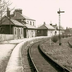 Seaham Station, (behind Station Hotel) newly rebuilt in 1887 using prefabricated panels made at Londonderry Engine Works. Photograph early 1900s