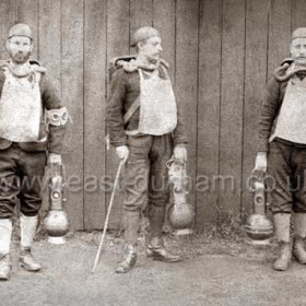 Mr. E. Harrald, ( master shifter ), Mr. S. Hedley ( assistant under viewer ), Mr. R. Barlow ( overman ).  Explorers with Heuss's Patent Breathing Apparatus at Seaham Colliery after the explosion on Sept 8th 1880 when 164 men and boys lost their lives.