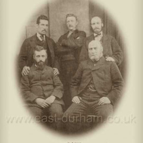 Explorers at Seaham Colliery Explosion, Sept 8th 1880. Back L-R Mr T Burt, Mr T Banks, Mr W Crozier. Front L-R Mr Wm. Patterson, Mr John Foreman.