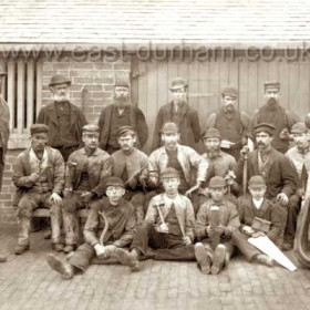 Tradesmen at Seaham Colliery before 1888. Back Row L to R T Taylor, W Rowell (died 1888), M Forster, J Smith, W Watson, J Foggin, A Douglas. Middle Row, W Rowell Jr, N Purvis, C Dawson, T Embleton, T Horsefield, H Roxby, C Embleton. Front Row J Armstrong, T Rowell, R Douglas. Andrew Grey Douglas, was living at 38 Cornish St in 1881, Cooke St in the 90s then 37 Francis St until around 1910 when he moved to 22 Church St, he died there in 1924.