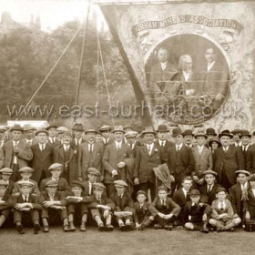 Seaham Colliery banner on the racecourse at Durham Miner's Gala (Durham Big Meeting) 1925.
