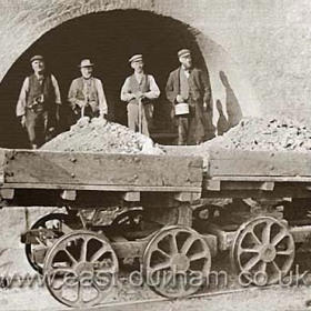 Seaham Colliery Brickworks? or so I was told when I was given the print. I am not convinced and Jack Cattermole who worked at the brickworks in the late 30s has no recollection of any similar building or wagons. Could it be a lime kiln and if so where? Seaham Colliery Brickworks were built in 1868 to use clay from the colliery.