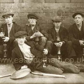 Seaham miners, Jimmy Scurr at right,  1930.