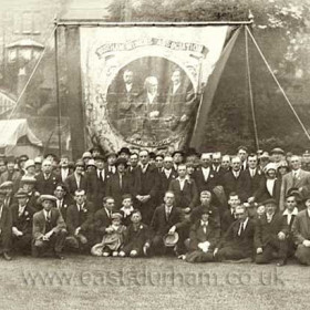 Seaham Colliery banner c 1925. This banner was replaced by single Aged Miners banner in 1929.