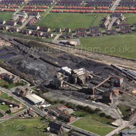 Seaham Colliery from the NW in the early 1980s. Christ Church in centre foreground, Conservative Club immediately above, Malvern Crescent and northern edge of Deneside at top.
