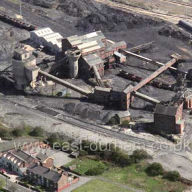 Detail from previous picture of Seaham Colliery, Conservative Club and Coronation Buildings in foreground.