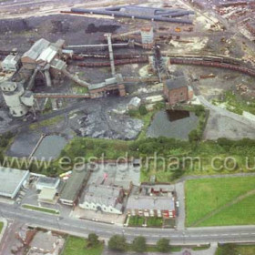 Demolition of Seaham Colliery, Station Road in foreground.  From right, Coronation Buildings, Conservative Club, Seaham Motor Co (formerly Martin's Garage)