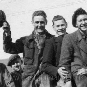 L to R Jack Hayes, Jack Williamson, Ernie Rowell, Brian Corkhill, Harry Mortenson (all joiners)  Photograph from Alan Rowell