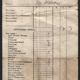 A Colliery payslip from the late 1930's Photograph from Marion Johnson