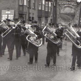 Seaham Colliery banner in 1956, probably in Durham City.