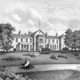"Seaham Hall in 1859 / 60. In 1776 Sir Ralph and Lady Judith Milbanke left Dalden Hall to live in the Old Seaham Manor house, known as ""The Cottage"",  which they demolished and rebuilt in 1792. The new house forms the central part of the present hall, it was fronted by the village green, Home Farm and Pack Horse Bridge across the dene.  Adjoining the Hall to the east was the village inn, roses clustering around its lattices.  A few cottages, the vicarage and Glebe Farm straggled down past the Church."