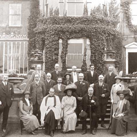 Committee of Seaham Cycling Club outside Seaham Hall c 1910, Lord and Lady Londonderry centre front, Malcolm Dillon at left.