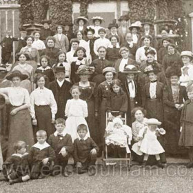 "Seaham Hall when used as a military hospital during WW1. Lady at centre is a matron. Occasion not known, possibly ""friends of the hospital"" or similar."