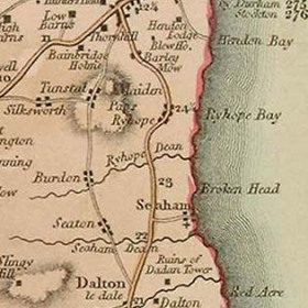 Map dated 1701 showing road through Seaton.