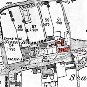 19th century map of Seaton Village, Blacken Pot Square is shown in red.