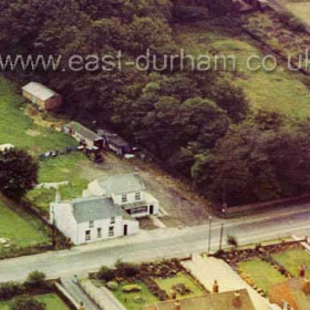 The Seaton Lane Inn c 1964 when Elsie Orton was landlady. The wooded area is to the left of the driveway to Seaton Hall, then the paddock with underground air-raid shelter just visible near the top then the Hall garden and Donny Hindsons field at top right. Josephine (Josey), Elsie's daughter, was still show-jumping at this time and her stables can be seen behind the pub.