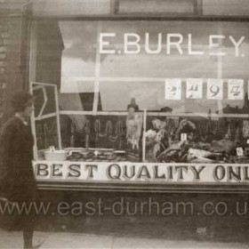E Burley's butcher shop at 10 Emily St East in 1938. In 1929 and 1934 he was listed as a fruiter and greengrocer at this same address. Beef pies were 2d each, pie meat 9d, sausage 4d and mincemeat 9d per lb.