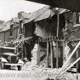 Queen St, Shotton Colliery after German bombing raid during WW2