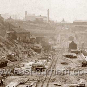Detail from SDE 009. Photograph 7th Sept 1903.Potts Shipyard buildings to left of centre, a room in this building was used to house sailors suffering from typhoid, cholera etc before the building of the Isolation Hospital in what is now Princess Rd. Coal store top right.