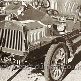 Car built at Seaham Harbour Engine Works. ( S.H.E.W. ) ( Foundry Road site ) Powered by a 2000cc engine, it was chain driven with two forward gears and capable of 25 miles per hour. Built for the 6th Marquess in 1907.Rebuilt in the 1960s it is now at Beamish Museum.