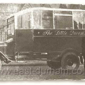 Seaham's first bus ' The Little Queen ' probably around 1920 This bus is said to have run from Seaham to Murton driven by Reginald Copeland.
