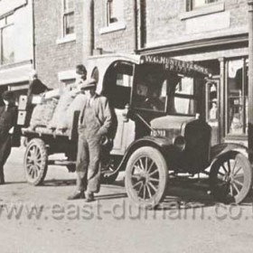 W.G.Huntley and Sons fruit and veg delivery wagon outside Wheaton's shop, 10  Blandford Place,  Reg number BR 1793  c 1925