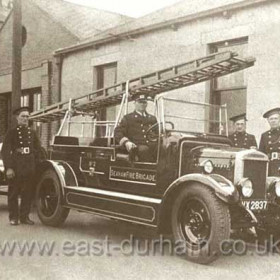 Seaham Fire Brigade at their Foundry Rd Station, (former Londonderry Engineworks site) before moving to their current HQ in Princess Rd (former Isolation Hospital site, which closed in 1938). In 1940, main station was Foundry Rd, a second station was opened in Princess Rd and a third in Bank Head St, Seaham Colliery.  Date of photograph not known