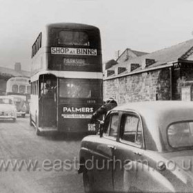 Traffic waiting at the east side of Dawdon Crossings before completion of new bridges and road aalowed closure of this and Station Rd crossings c 1963Banana Yard to right in disused Londonderry Engineworks