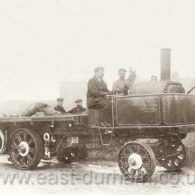 Steam wagon built at Seaham Harbour Engineworks ( Foundry Road site ) in 1903. Photographed during a road test for a motoring magazine in 1903. This vehicle would probably be painted dark green with orange coachlines.